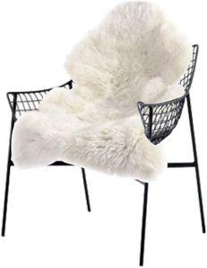 WOLTU Faux Lammfell Teppich für Wohnzimmer weiß