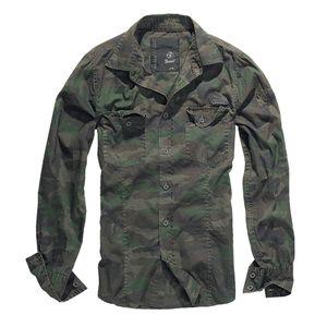 Brandit - SlimFit Shirt Woodland Hemd Outdoor Tarnmuster Größe XL