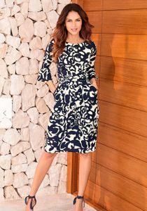 222929 Witt Weiden Damen Kleid dunkelblau weiß gemustert exclusiv NEU Größe 46