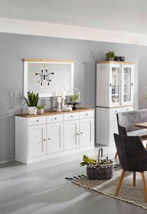 Set Sideboard Spiegel Buffet Eiche massiv Landhaus MONTIERT Esszimmer Vintage
