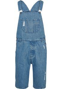 Urban Classics TB2089 Denim Short  Latzhose kurze Hose  , Größe:M, Farbe:bleached blue