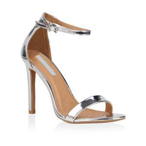 Mytrendshoe Damen Sandaletten Riemchensandaletten High Heels Sommer Schuhe 821192, Farbe: Silber, Größe: 36
