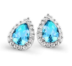 Orphelia Silver 925 Earring Drop Blue Topaz (Turquoise) Color Zirconium