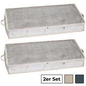 shelfmade 2er Set Unterbettkommode Aufbewahrungstasche aus Stoff für Bettdecken, Kissen, etc. - Aufbewahrungsbox, Unterbettbox, Betttasche groß, Bett Stauraum (100 x 45 x 15 cm), Farbe:2er Set grey/white
