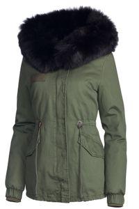Damen Winter Baumwolle Jacke Pelz Kapuze, Farbe:Olive-Schwarz, Größe:L