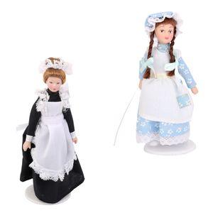 2 Stück 1:12 Puppen Miniatur Klassische Viktorianische  Dienerin Lady Home