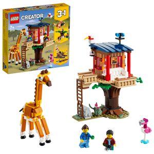 LEGO 31116 Creator 3-in-1 Safari-Baumhaus - Katamaran - Flugzeug Spielzeug, Set mit Giraffe und Löwe für Safari-Tierfans ab 7 Jahre