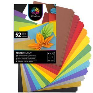 OfficeTree 54 Blatt Bastelpapier - Bastelset Kinder - Tonpapier A3 130g/m² zum Basteln Gestalten - 1