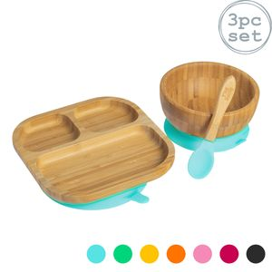 Tiny Dining Kinder Bamboo Geschirr Set - Teller, Schüssel, Löffel mit Aufenthalt Put Saug - Blau