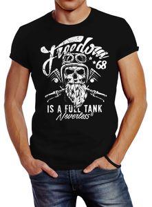 Herren T-Shirt Biker Motorrad Motiv Freedom is a full Tank Skull Totenkopf Slim Fit Neverless® schwarz L