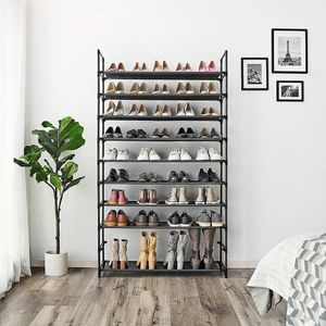 Schuhregal mit 10 Böden für 50 paar Schuhe Schuhschrank Schuhablage Schwarz