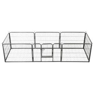 Hunde-Laufgitter 8 Paneele Stahl 60 x 80 cm Schwarz | Hundekäfig Hundehaus Hundehütte Hundebox Hundetransportbox