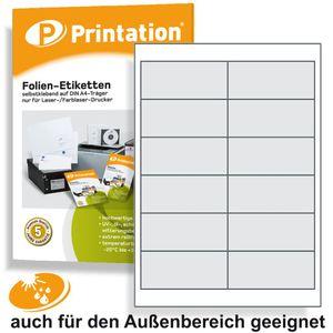 Universal Etiketten 97 x 42,4 mm WETTERFEST - Folienetiketten transparent auf A4