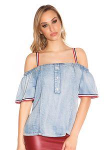 Carmen Off-Shoulder-Shirt im Jeans-Look, Farbe: Hellblau, Größe: M/L