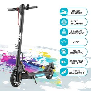 Markboard 8.5 Zoll Elektroscooter (ABE) M5 mit Straßenzulassung (eKFV),19 km/h, 350 Watt, 7,5Ah Lithium-Akku, schwarz, Elektro Cityroller, E-Tretroller, E-Roller, E-Bikes,Elektroroller ,E-scooter