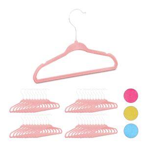 relaxdays 40 x Kleiderbügel Kinder, Mädchenbügel rosa, Samtbügel Hosenbügel Babybügel Samt
