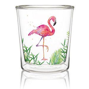 Glas, doppelwandig, Flamingo, Gläser Teeglas Kaffee Cappuccino, Flamingos