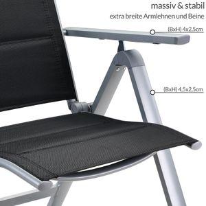 Casaria 2er Set Alu Gartenstuhl Gepolstert Klappbar Kopfkissen Campingstuhl Klappstuhl Aluminium Bern Premium, Farbe:anthrazit