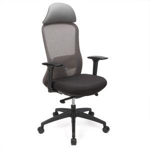 Futurefurniture® 4D ergonomischer Bürostuhl - mit 4D verstellbaren Armlehnen, ergonomischer Lordosenstütze und Sitz mit verschiebbarem Chassis-Computerstuhl, Spielstuhl, großem Drehstuhl (Grau)