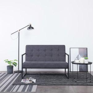 dereoir 2-Sitzer-Sofa mit Armlehnen Dunkelgrau Stahl und Stoff