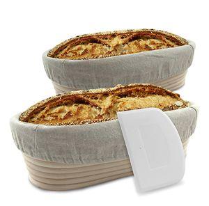 riijk Gärkorb 2er Set oval inkl. Gratis Teigschaber, 2X Gärkörbe für Brot und Brotteig Peddigrohr 28 und 35cm, Brotform Leineneinsatz Holzschliff