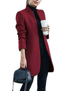 Damen Wollmantel Trench Jacke Damen Warmer langer Parka formeller Mantel,Farbe:Rotwein,Größe:L