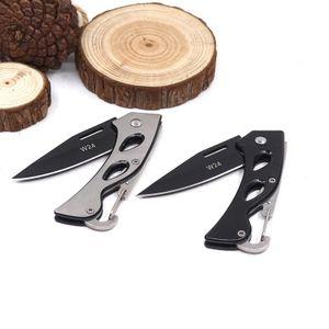 Karabiner Taschenmesser Klappmesser für Camping & Outdoor, klein, leicht & kompakt - Schwarz