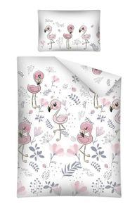 Kinderbettwäsche Babybettwäsche 100x135 & 40x60 Flamingo Weiss