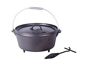 El Fuego Gusseisen-Grilltopf Dutch oven Ø 25 x 14 cm, 4,26 Liter, schwarz, mit 3 Standfüßen