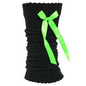Damen Beinwärmer / Stulpen mit Schleifchen, 1 Paar W414 (Einheitsgröße) (Schwarz mit grünem Schleifchen)