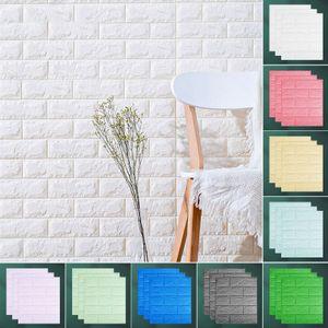 10 Stück Wandpaneele selbstklebende 3D-Tapeten Wandpaneele wasserdichter Wandkleber 35cmx38.5cmx0.5cm Farbe: Weiß