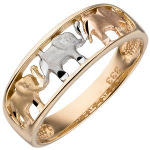 Damen Ring Elefanten 333 Gold Gelbgold tricolor