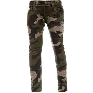 Jienis-Denim N.Y.C. Mädchen Chino Hose Camouflage mit verstellbaren Bund und Nieten Braun 116