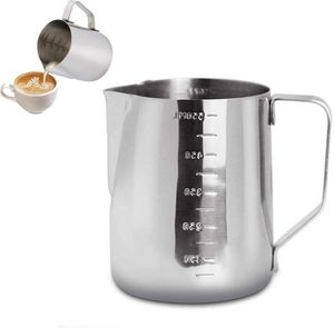 350ml Milchkännchen aus Edelstahl - Cappuccino Krug Gießkrug Espresso Tasse - Perfekt für Espressomaschinen, Milchaufschäumer, Latte Kunst