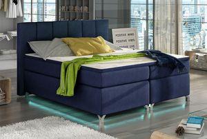 Boxspringbett Polsterbett Bett Bettkasten LED 140x200 Stretchstoff dunkelblau