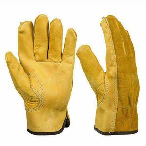 Arbeitshandschuhe Leder Five Finger Anti-Rutsch-getauchte Verschleißfeste Anti-Rutsch-Lederhandschuh