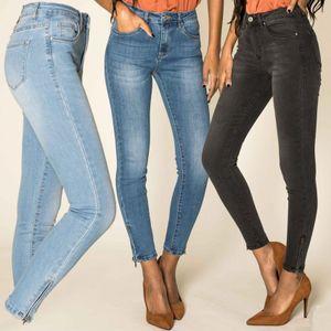 Damen Skinny Ankle Jeans Schmaler Schnitt Stretch mit Reißverschluss am Saum, Farben:Dunkelgrau, Größe:42