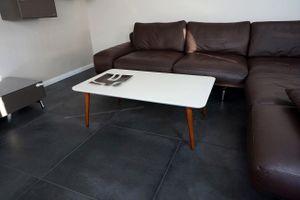 Design Couchtisch Tisch SH-1 Creme - Nussbaum / Walnuss