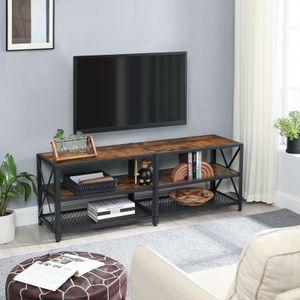 VASAGLE TV-Schrank bis zu 60 Zoll Fernsehtisch 140 x 39,2 x 50 cm, Lowboard für Fernseher , Fernsehschrank mit Ablagen, Stahlgestell, TV-Regal, vintagebraun-schwarz LTV094B01