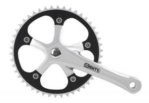 M-Wave Kettenradgarnitur 1-Gang Aluminium 46 oder 44 Zähne Fahrrad Antrieb, Farbe:schwarz/silber, Zähne:46 Zähne