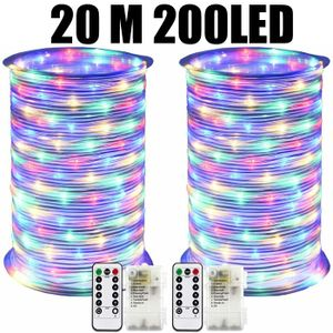 Miixia 200LED Lichterschlauch Lichterkette Lichtschlauch 20M Innen Außen Garten Deko 20 Meter