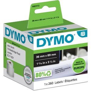 DYMO Original LabelWriter Adressetiketten (Groß) | 36 mm x 89 mm | Rolle mit 260 Etiketten | selbstklebend |für LabelWriter Etikettendrucker und Beschriftungsgerät