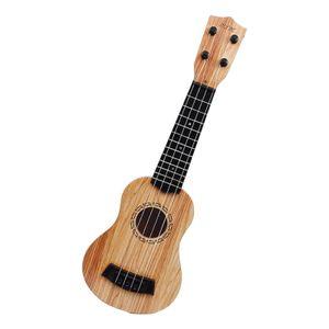 Kindergitarre Spielzeug Ukulele Klassisch 4 Saiten Pädagogisches Musikinstrument Kunststoff Pflegen Sie Interesse an Musik Geschenk Kinderspielzeug Farbe Hellbraun