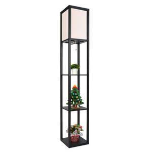 Puluomis Stehlampe mit Regal Holz LED E27 Innenbeleuchtung   Stehleuchte  für Schlafzimmer und Wohnzimmer  Schwarz