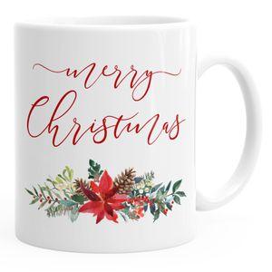 Tasse Weihnachten Merry Christmas Blumen Weihnachtsstern Christstern Flower Frohe Weihnachten Autiga® weiß unisize
