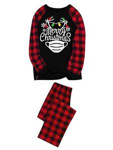 Familienweihnachtspyjamas Passende Sets Langarm-Tops + Hosen Passende Weihnachts-PJs Set Nachtwäsche,Farbe: Mama,Größe:M