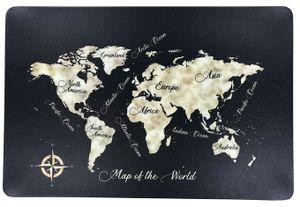 Schreibtischunterlage Map of the World schwarz Landkarte Kontinente Weltkarte 40 x 60 cm abwischbar