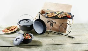 Jim Beam gusseisernes Koch-Set Dutch Oven 9tlg. in Holztruhe