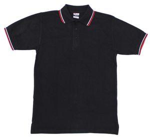 Poloshirt, schwarz, rot-weiße Streifen, mit Knopfleiste, Größe XL