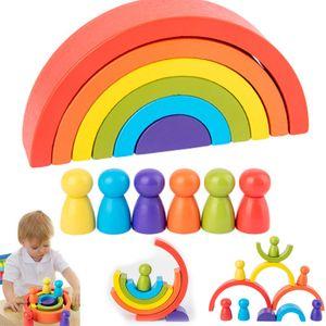 Holz Regenbogen Bausteine Montessori Stapelspielzeug Holzspielzeug Lernspielzeug
